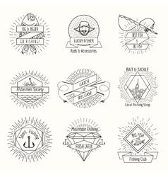 Retro fishing logo or labels set vector image