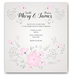 wedding invitation flowers template vector image vector image