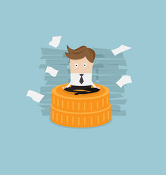 businessman sitting on coins stack vector image vector image
