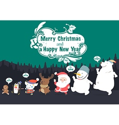 Christmas character and New Year greeting card vector image vector image