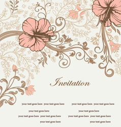 floral invitation card with tree branch vector image vector image