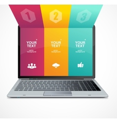 Text boxes infographics on laptop vector image
