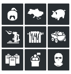The energy crisis in Ukraine Icons Set vector image vector image