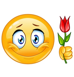 emoticon with flower vector image