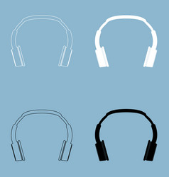 headphones the black and white color icon vector image