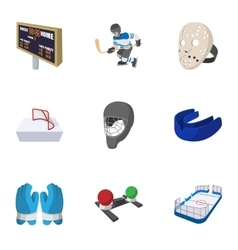 Hockey game icons set cartoon style vector image vector image
