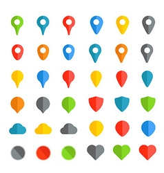 Navigation pins color collection isolated on white vector image vector image