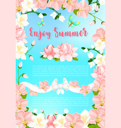 Summer blooming flowers greeting poster vector