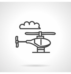 Toy helicopter simple line icon vector image