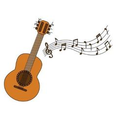 Cartoon acoustic guitar and sheet music vector image vector image