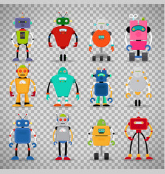 cute robots set on transparent background vector image