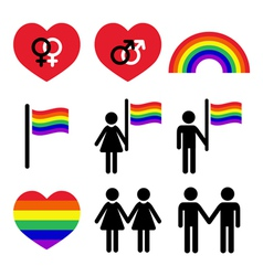 Gay and lesbian couples rainbow icons set vector image vector image