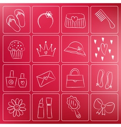 girl doodle icons chalky vector image