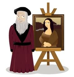 Mona lisa easel and leonardo da vinci vector