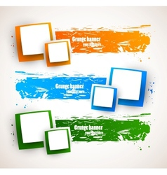 Set of banners with squares vector image
