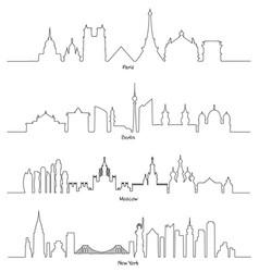 set of minimal linear skyline paris berlin vector image vector image