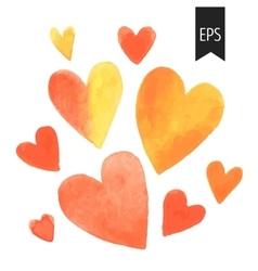 Set of orange watercolor hearts vector image vector image