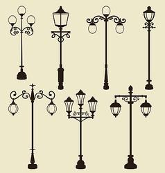 Set of vintage various ornamental streetlamps vector image