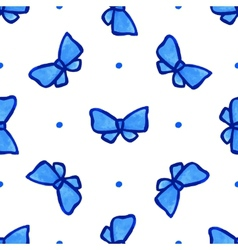 Sky blue seamless pattern with bow vector