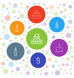 7 candles icons vector