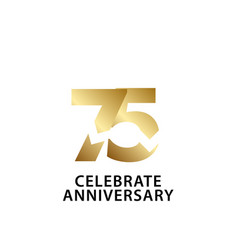 75 years anniversary celebrate gold template vector