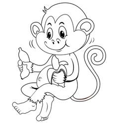 Animal outline for monkey eating banana vector
