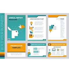 Annual report book cover and presentation template vector image