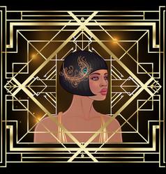 Art deco girl retro fashion style african woman vector