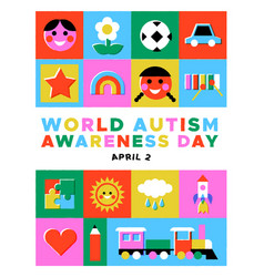 Autism awareness day kid toy mosaic icon card vector