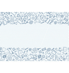 Back to school seamless chalk drawn icon pattern vector