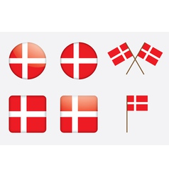 badges with Danish flag vector image