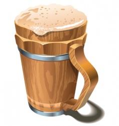 beer wooden cup vector image