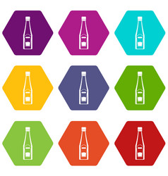bottle of ketchup icon set color hexahedron vector image