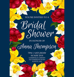 Bridal shower floral banner of wedding invitation vector