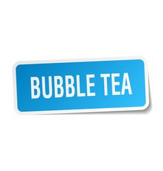 Bubble tea square sticker on white vector