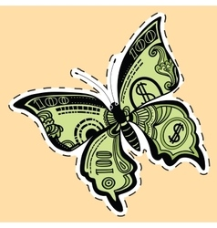 Butterfly dollar bill label sticker vector