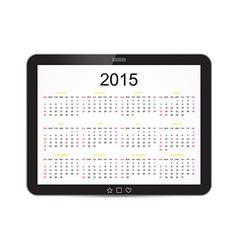 Calendar 2015 Tablet vector image
