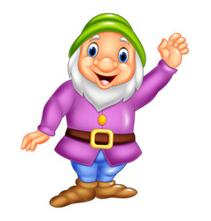 cartoon happy dwarf waving vector image