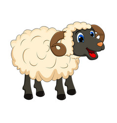 cartoon white ram design isolated on white vector image