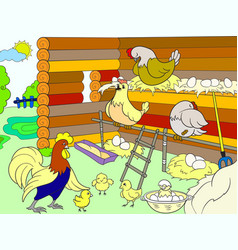 Chicken coop interior and life of birds in the vector