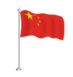 china flag isolated wave flag china country vector image