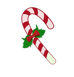 Christmas candy cane with a bowl vector