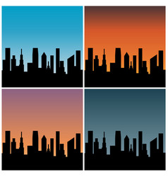 city skyline with gradient sunset backgrounds vector image