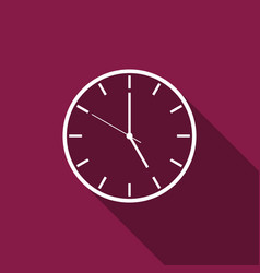 Clock flat icon with long shadow vector