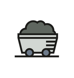 Coal mine wagon icon on white background vector