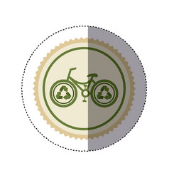 color circular frame sticker with bike with vector image