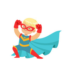 Comic happy kid in superhero costume red mask and vector