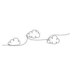 continuous one line clouds floating in sky vector image