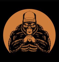Cool gorilla retro vector