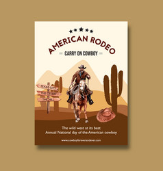 Cowboy poster design with american rodeo vector